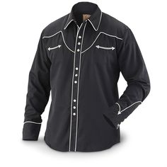Scully 620 Western Shirt, Long-sleeved Black / Cream