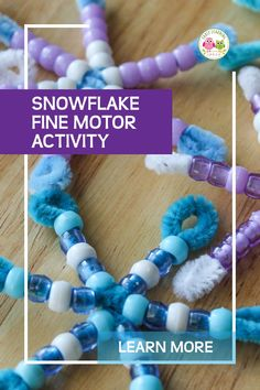This snowflake craft for kids is a great winter project combining hands-on math . - Holiday - This snowflake craft for kids is a great winter project combining hands-on math learning and fine m - Diy Christmas Activities, Winter Activities For Kids, Holiday Crafts For Kids, Preschool Winter, Preschool Classroom, Snowflake Craft, Beaded Snowflake, Snowflakes, Winter Art Projects