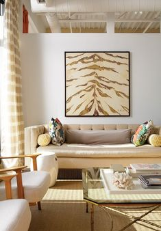 Sleek Neutral Living Room - I love all of this, but especially the artwork.