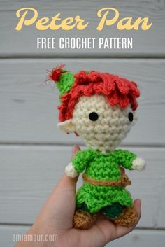 An adorable free Peter Pan crochet pattern made in the chibi amigurumi style. Fly off to Neverland with this adorable Peter Pan Amigurumi doll. This free Peter Pan crochet pattern captures the whimsy of the Boy Who Never Grew Up. Disney Crochet Patterns, Crochet Disney, Crochet Doll Pattern, Amigurumi Patterns, Amigurumi Doll, Crochet Dolls, Doll Patterns, Kawaii Crochet, Crocheted Toys