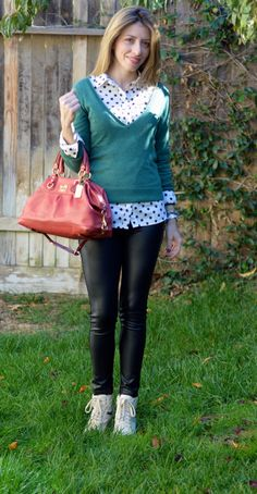 Polka Dots Shirt Outfit and Green Sweater. Very easy to style and it doesn't cost much. Visit my blog for details how to style for less and look chic.