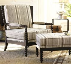 A comfy, handsome striped chair and ottoman Ottoman Inspiration, Living Room Inspiration, Chair And Ottoman, Armchair, Home Furniture, Modern Furniture, Striped Chair, Family Room Design, Modern Room
