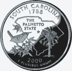 Learn about the South Carolina 50 State Quarter. Access South Carolina official state symbols with description and pictures. United States Mint, 50 States, State Quarters, Palmetto State, Nation State, Crater Lake, George Washington, New Hampshire, Rhode Island