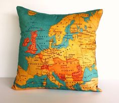 This speaks to my wanderlust!  vintage map EUROPE map cushion Organic cotton by mybeardedpigeon, $55.00