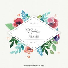 More than a million free vectors, PSD, photos and free icons. Exclusive freebies and all graphic resources that you need for your projects Mais Illustration Blume, Graphic Design Illustration, Floral Logo, Origami, Watercolor Wedding Invitations, Free Graphics, Flower Frame, Watercolor Flowers, Watercolour