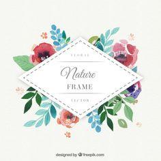 Marco de la acuarela floral rombo | Descargar Vectores gratis