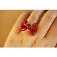 Snow White inspired Red Bow Ring (red sparkling version) (25 AUD) ❤ liked on Polyvore featuring jewelry, rings, swarovski crystal rings, adjustable rings, crown ring, druzy ring and swarovski crystal jewelry