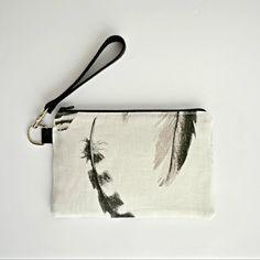 vegan clutch bag / zero waste purse / eco friendly natural / wristlet wallet purse / white linen vanity