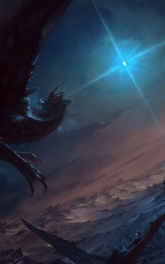 """The Dragon and the Star - Silmarillion fan art by Manuel Castanon """"One of my favorite scenes from Tolkien's Silmarillion, the battle for middle earth between Ancalagon the black and Eärendil"""" Hobbit, Dark Fantasy Art, Fantasy Artwork, Tolkien, Fantasy Creatures, Mythical Creatures, John Howe, Dragon Star, Art Watch"""