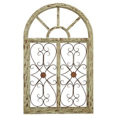 Indoor/outdoor wood and metal wall decor with a window-inspired design.   Product: Wall decor Construction Material...