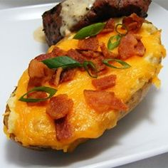 "Twice Baked Potatoes II | ""This was a hit! Only thing I recommend is that you top with shredded cheddar instead of slices, melts better."""