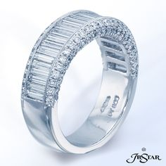 JB Star Platinum diamond wedding band handcrafted with carefully selected straight baguette diamonds in a center channel, edged in millegrain and a double row of micro pave.