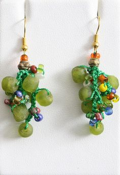 Drop Earring Crocheted Recycled Glass Beads Different   eBay
