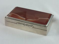 Russian 840 Silver antique Snuff Box, Agate top by tlgvintageart on Etsy