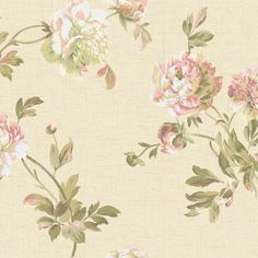 York Graystone Estate Whitworth Peony, Antique Ivory Pearl/Deep Rose Wallpaper - HD6919