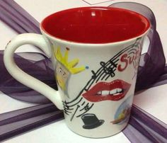 'Encore'- commissioned mug for the director of a Musicals themed variety show.  A Chorus Line, Chicago, Little Shop of Horrors, Spamalot, The Lion King, The Phantom of The Opera, The Rocky Horror Show A Chorus Line, Rocky Horror Show, Little Shop Of Horrors, Phantom Of The Opera, Lush, Musicals, Chicago, King, Design