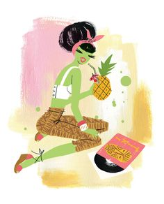 Pineapple Mary by Neryl Walker. Illustration for the Fashionable Cocktail book. A3 print available at neryl.bigcartel.com