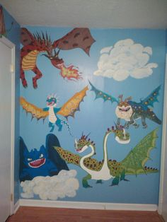 Mural That I Painted On My Sons Wall The Characters From How To Train Your Dragon
