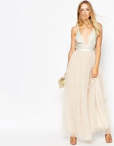 963034b198 NEEDLE   THREAD Needle   Thread Embellished Plunge V Neck Tulle Skirt Maxi  Dress White Maxi