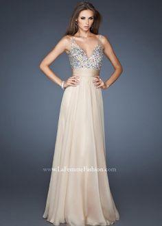 La Femme 18669 - Nude V-Neck Chiffon Prom Dresses Online #thepromdresses #promidea #promdresses #promhairstyles #promnails #prommakeup prom dress prom nails prom hair prom idea prom makeup