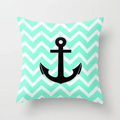 chevron anchor pillow Tiffany Chevron Anchor Throw Pillow by RexLambo My New Room, My Room, Girl Room, Cute Pillows, Toss Pillows, Accent Pillows, Anchor Bedroom, Chevron Anchor, Anchor Print
