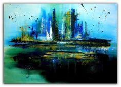 BURGSTALLER ORIGINAL Kunst Bild Abstrakt Malerei Painting Wandbild BLAU 80x120