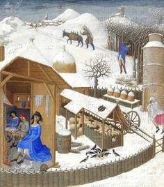 """Zima w zagrodzie. Miniatura z """"Bardzo bogatych godzinek"""" księcia de Barry (1412-16 r.)."""