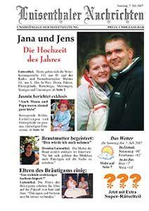 Eine Sehr Schone Und Ausgefallenen Hochzeitszeitung Von Jana Und Jens Hochzeitszeitung Originelle Hochzeitseinladungen Silberne Hochzeit