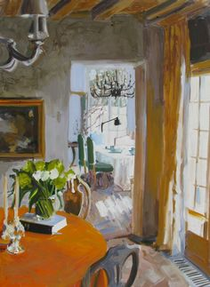 ◇ Artful Interiors ◇ paintings of beautiful rooms - Greet's Sister's Dining Room
