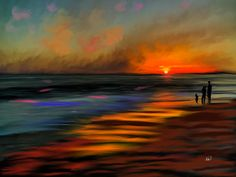 Sunset at Capo Beach California by Angela A Stanton: The painting is of Capo Beach, which is by Aliso Viejo in Orange County on the southern side. It is actually a rocky beach with tiny rocks so hard to walk on but on this one day I was out with a model photographing her in the sunset and I decided to create a painting of the sunset without the model and get a little more interesting elements in the skies and the water. I also placed a family of interest.