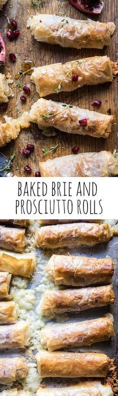 Baked Brie and Prosciutto Rolls If there was ever an appetizer that almost everyone will love, it's got to be these rolls. They're flakey, filled with Brie, salty prosciutto, and finished with a touch of sweetness! Finger Food Appetizers, Yummy Appetizers, Appetizers For Party, Finger Foods, Appetizer Recipes, Harvest Appetizers, Avacado Appetizers, Prociutto Appetizers, Mexican Appetizers