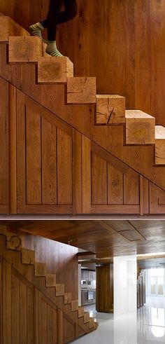 Wow, look at those stairs! Too much wood for me overall, but those stairs would add a nice rustic, but minimalist touch to a modern space. maybe whitewashed with the grain showing through....