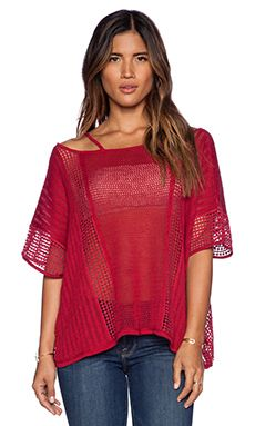 Free People Echo Pullover in Raspberry Combo