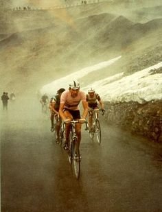 Looks cold up there ... Stelvio climb in the Giro d'Italia 1965, with Vittorio Adorni and Italo Zilioli.