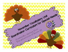 November Vocabulary Unit- Boardmaker Curriculum for Studen November Thanksgiving, Sensory Diet, School Sets, Special Education Teacher, Special Needs, Autism, Curriculum, Vocabulary, Things That Bounce