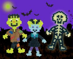 These Halloween monsters like to haunt cemeteries at night, and you can make them with Perler Beads! Frankenstein and his bride walk at midnight with a glow-in-the-dark skeleton for frightfully good fun.