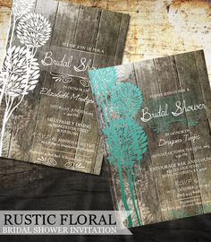 Rustic Wood Bridal Shower Invitations Digital by OddLotEmporium