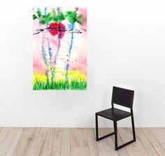 Watercolor Painting Pink Aspens II  Original by DistractionsArt