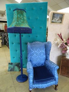 Preparation for Soho - stunning screen, upholstered in contemporary emerald velvet & highly buttoned using vintage teal fabric, striking standard lamp & the most glorious wingback chair in iris velvet & irresistible vintage satin