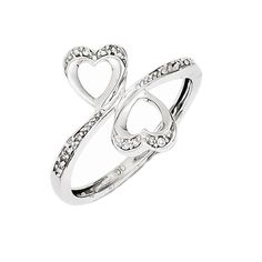 925 Sterling Silver Diamond Double Heart Ring