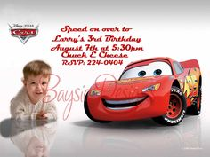 CUSTOM DISNEY CARS BIRTHDAY INVITATIONS FREE SHIPPING . $19.99, via Etsy.