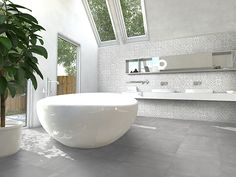 This wall tile looks like printed cement and is a mix of Marrakech and cold mix porcelain tile. Subtle grey designs work great as a backsplash or flooring. Bathroom Design Inspiration, Bad Inspiration, Marrakech, Natural Bathroom, Bathroom Design Luxury, Stone Tiles, Bathroom Styling, Mosaic Glass, Wall Tiles
