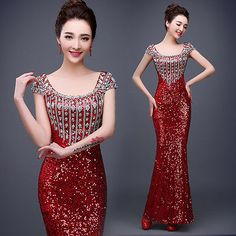 New Sequins Formal Wedding Prom Party Bridesmaid Evening Ball Gown Dress  L519 d64d57d81