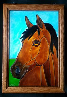 Horse Window Art faux stain glass painted glass sun catcher farm riding saddle animals cowboy cowgirl girl