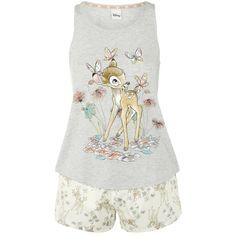 Disney Bambi and Floral Print Shorts Pyjamas ($20) ❤ liked on Polyvore featuring intimates, sleepwear, pajamas, disney pajamas, disney pjs, disney and disney sleepwear