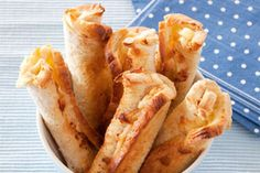 Cheese rolls recipe, NZ Womans Weekly – Southern readers will recognise this delectable treat while North Islanders might like to add it to their recipe books - Eat Well (formerly Bite) Snack Recipes, Cooking Recipes, Snacks, Kiwi Recipes, Picnic Recipes, Cheese Roll Recipe, New Zealand Food, Kitchen Time, Kitchen Corner