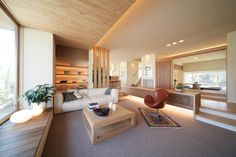 The Appeal Of Contemporary Apartment With LED Mood Lighting 264 - neweradecor Japanese Living Rooms, Japanese House, Living Room Modern, Home Living Room, Living Room Decor, Dining Room Design, Interior Design Living Room, Home Office Design, House Design