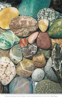Vashon Island Beach Rocks ~ this painting is so realistic ! Watercolor Flowers, Watercolor Paintings, Rock Background, Vashon Island, Beach Rocks, Acrylic Painting Techniques, Cool Rocks, Rock Design, Rock Collection