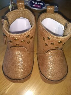 670dd4c52e53 NEW First Steps Baby Girls Shoes SZ 3(6-9M) gold brown