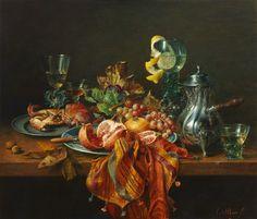 Stilleven met zilveren kan, oil on panel by Dutch painter Cornelius le Mair, 2007